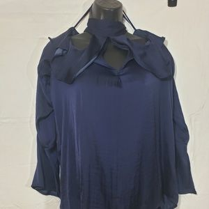 Belle Sky size M Blue exposed shoulders cutout top